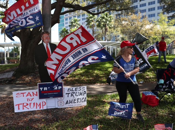 Before he took the stage inside at the Conservative Political Action Conference, supporters of former President Donald Trump