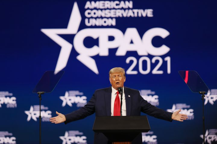 Former President Donald Trump addresses the Conservative Political Action Conference in Florida on Sunday. His speech was ful