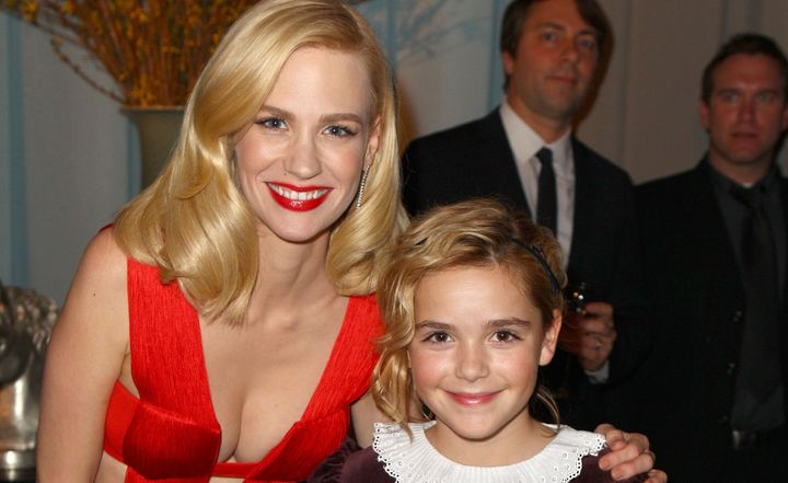 Actors January Jones and Kiernan Shipka attend AMC's 2011 Golden Globe Awards viewing and after party held at The Beverly Hil