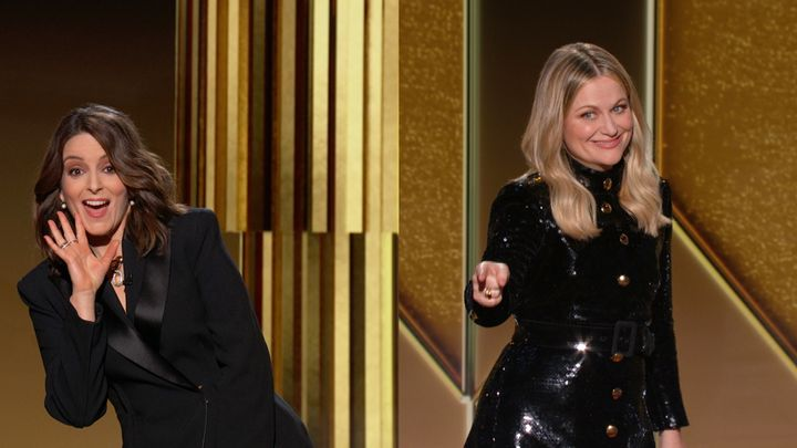 Pictured in this screengrab released on February 28, Co-hosts Tina Fey and Amy Poehler speak onstage at the 78th Annual Golde