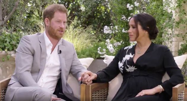 Prince Harry and Meghan Markle in a clip from their upcoming primetime special with Oprah Winfrey.