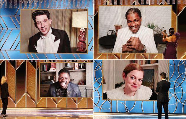 (Clockwise starting top-left) Josh O'Connor, John Boyega, Emma Corrin and Daniel Kaluuya won awards at...