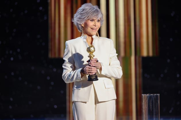 Jane Fonda accepts the Cecil B. DeMille Award onstage at the 78th Annual Golden Globe Awards on Feb. 28, 2021.