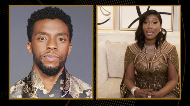 """Simone Ledward Boseman accepts the award for Best Actor in a Motion Picture – Drama for """"Ma Rainey's Black Bottom"""" on behalf of Chadwick Boseman during the 78th Annual Golden Globe Awards broadcast on February 28, 2021."""