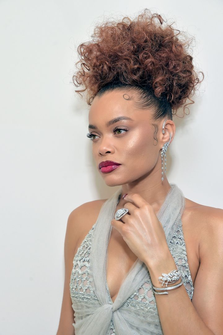 Andra Day, wearing CHANEL & CHANEL Fine Jewelry, gets ready for the Golden Globe Awards 2021 at The West Hollywood
