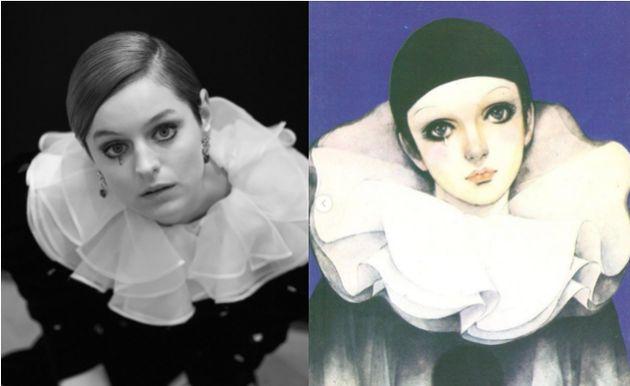 Emma Corrin en Pierrot pour les Golden Globes 2021, le 28