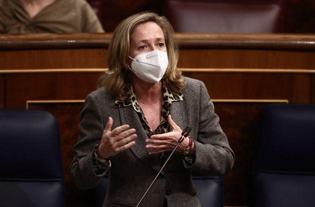 La ministra Nadia Calviño, durante la sesión de control al Gobierno en el Congreso, el pasado 3 de