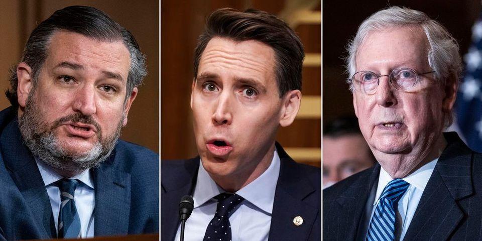 De izquierda a derecha, los senadores republicanos Ted Cruz, Josh Hawley y Mitch McConnell. La mayoría...