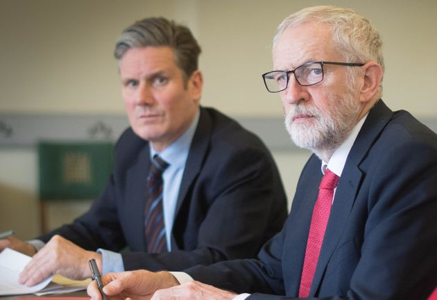 Jeremy Corbyn and Keir Starmer pictured during Corbyn's leadership while preparing for a meeting with...