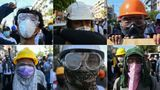 This combination of pictures created on March 1, 2021, shows protesters wearing basic protective gear during a demonstration against the military coup in Yangon.