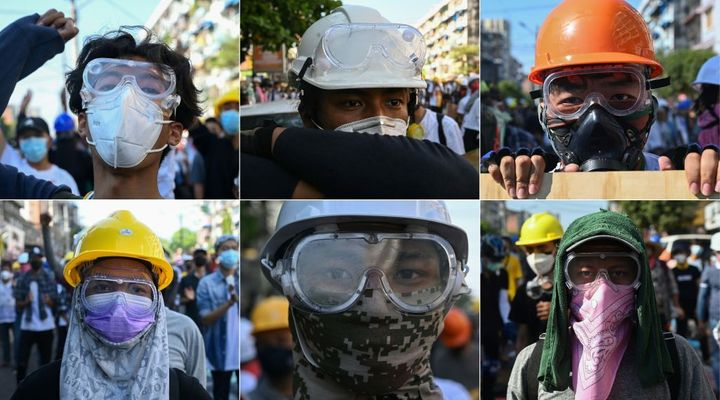 This combination of pictures created on March 1, 2021, shows protesters wearing basic protective gear during a demonstration