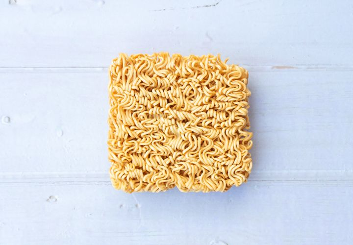 "A package of ramen usually lists one serving as being just half of the ""brick"" of noodles."