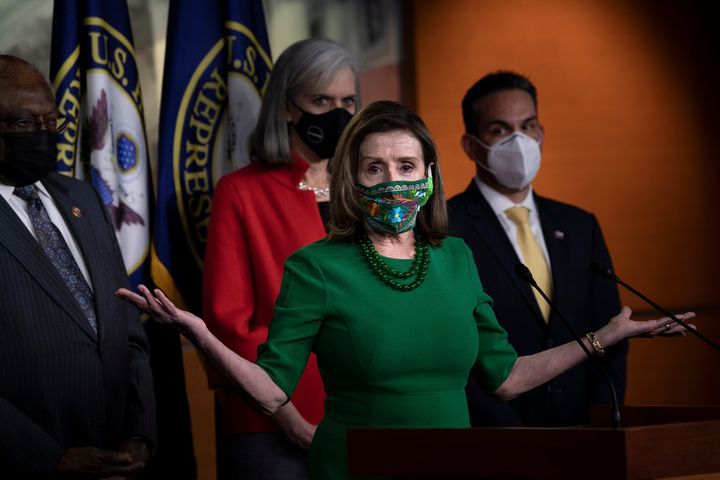 House Speaker Nancy Pelosi (D-Calif.) speaks during a press conference with other House Democratic leaders about COVID-19 fin