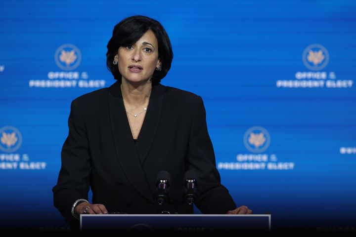Dr. Rochelle Walensky, the head of the Centers for Disease Control and Preventing, speaks during a news conference in Decembe