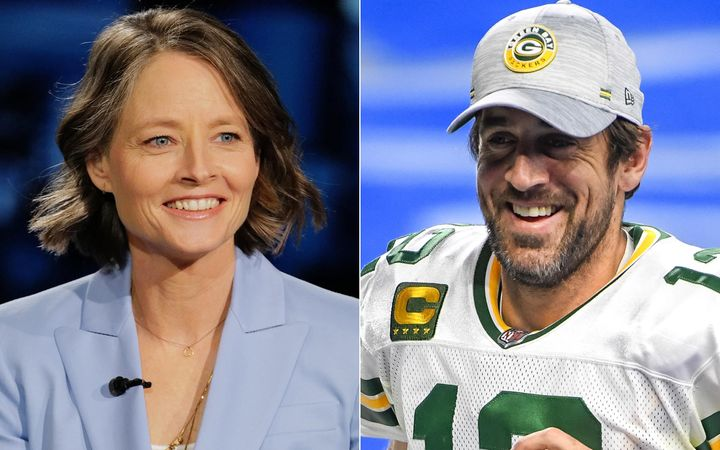 Actor Jodie Foster (left) continued her love fest with Green Bay Packers quarterback Aaron Rodgers on Sunday when she gave hi