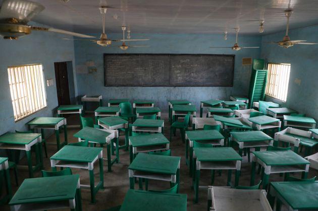 Une classe vide à Jangebe, un village de l'Etat de Zamfara, situé dans le Nord-Ouest du...