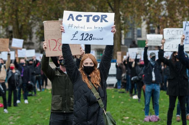Theatre performers, creatives and technicians gather in Parliament Square to take part in the Survival...