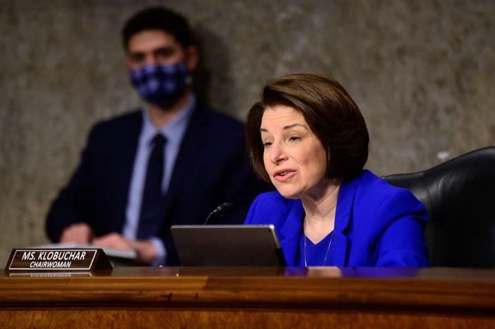 Sen. Amy Klobuchar (D-Minn.) speaks during a Senate Homeland Security and Governmental Affairs & Senate Rules and Adminis