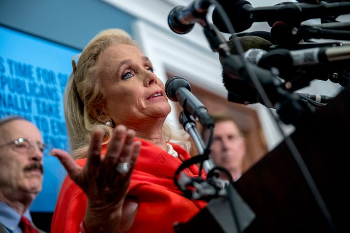 Rep. Debbie Dingell, D-Mich., speaks at a news conference calling for Senate action on H.R. 8 - Bipartisan Background Checks