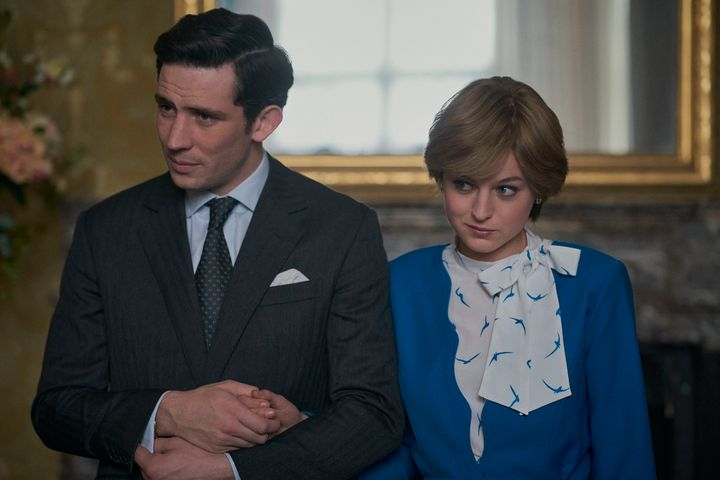 "Josh O'Connor as Prince Charles and Emma Corrin as Princess Diana in ""The Crown."""