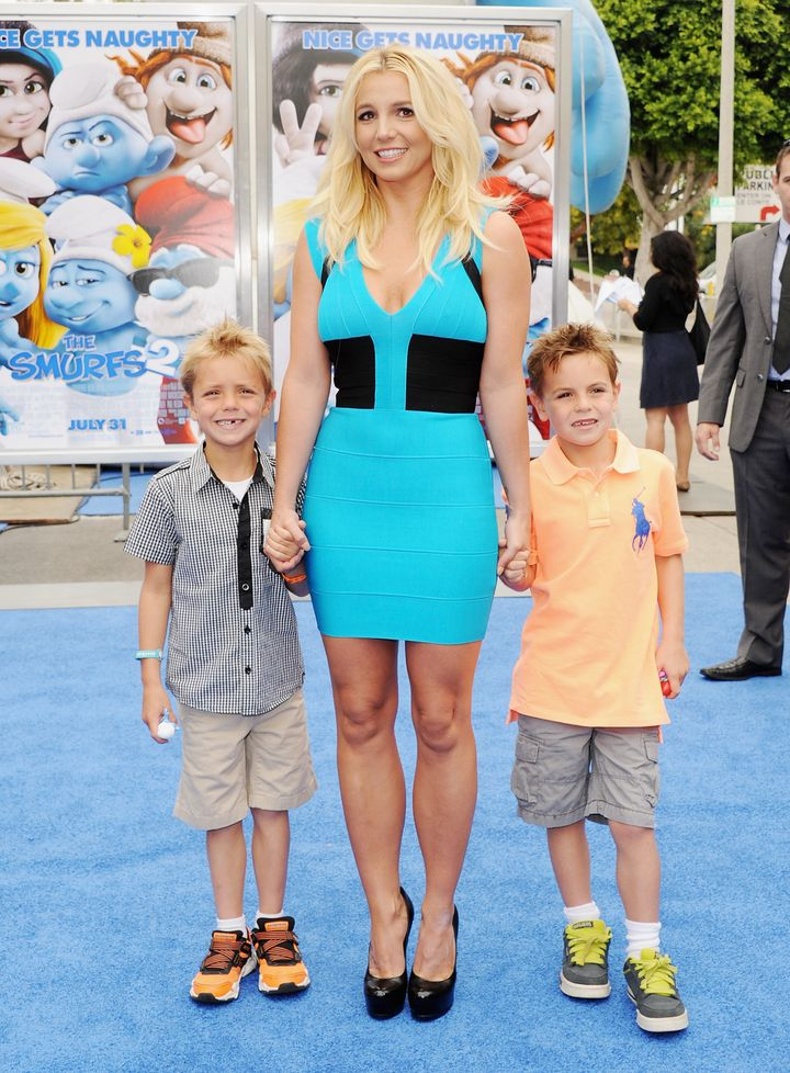 "Britney Spears with her sons Jayden, left, and Sean at the premiere of ""Smurfs 2"" on July 28, 2013. The boys were 6 and 7, respectively."