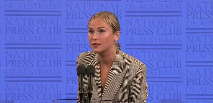 Sexual assault survivor and Australian of the Year Grace Tame addressing the National Press Club of Australia about Scott Morrison's reaction to Brittany Higgins' allegations.