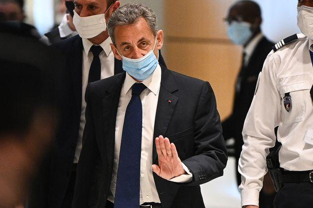 L'ancien président de la République, Nicolas Sarkozy, arrivant au tribunal correctionnel de Paris le...
