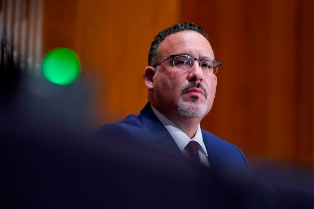 Miguel A. Cardona at his confirmation hearing to be secretary of education. He officially took on the...