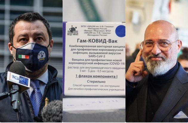Matteo Salvini - una confezione del vaccino Sputnik - Stefano