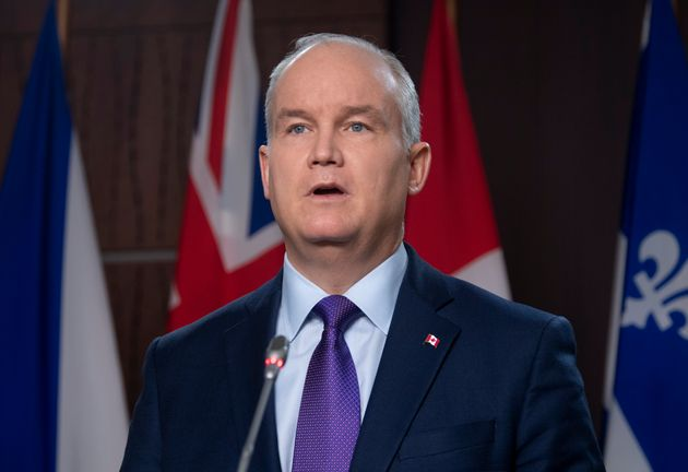 Leader of the Opposition Erin O'Toole speaks at a news conference on Parliament Hill in Ottawa on Feb....