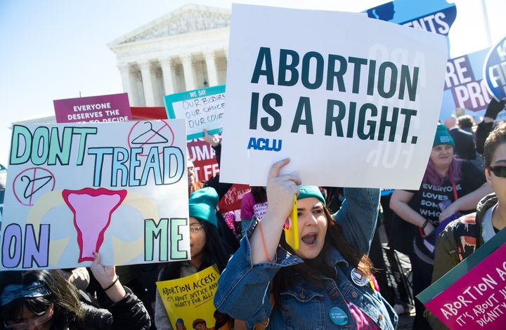 Abortion rights activists protest during a demonstration outside the Supreme Court in Washington, D.C., on March 4, 2020.