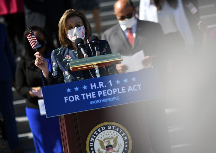 House Speaker Nancy Pelosi (D-Calif.) speaks in support of the For The People Act at an event on the U.S. Capitol steps on March 3, 2021.