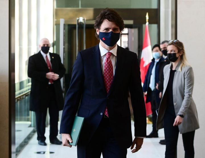 Prime Minister Justin Trudeau makes his way to a press conference on Feb. 26, 2021.