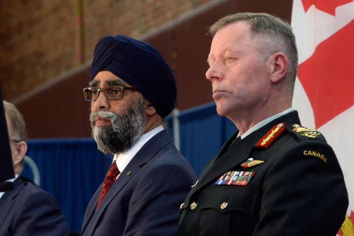 Defence Minister Harjit Sajjan and then-chief of the defence staff Jonathan Vance are shown at the Canadian Armed Forces in Ottawa on June 7, 2017.