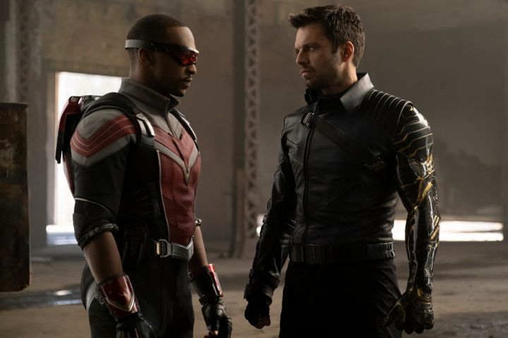 """Anthony Mackie (left) as Falcon and Sebastian Stan as Bucky Barnes the Winter Soldier in a scene from """"The Falcon and the Win"""