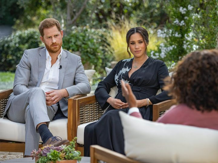 Prince Harry and Meghan Markle pictured during their sit down with Oprah Winfrey.