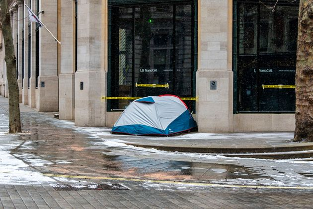 A tent on the streets of London during the Covid