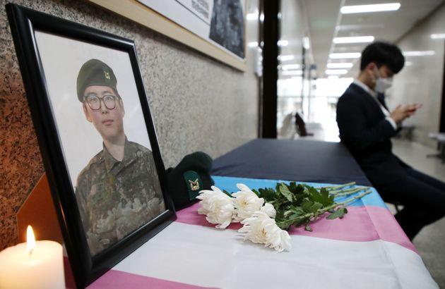 4일 서울 여의도 국회 정의당 대표실 앞에 변 전 하사의 추모공간이 마련돼