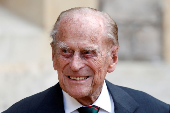 Prince Philip is seen at Windsor Castle, west of London, on July 22, 2020. Philip's current hospital stay is not believed to be linked to COVID-19.