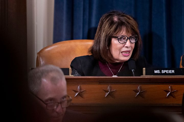 Representative Jackie Speier, a Democrat from California, questions witnesses during a House Intelligence Committee impeachme