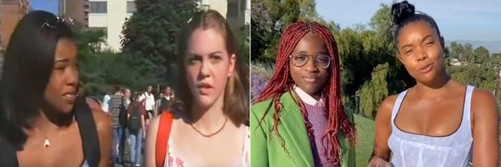 "The iconic scene from ""10 Things I Hate About You"" next to Zaya Wade and Gabrielle Union's re-creation."