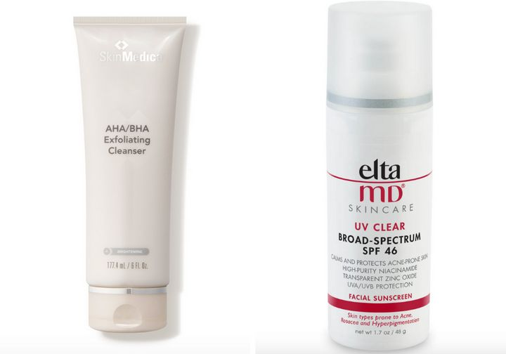 """<strong><a href=""""https://www.dermstore.com/product_AHABHA+Exfoliating+Cleanser_53511.htm"""" target=""""_blank"""" rel=""""noopener noreferrer"""">SkinMedica AHA/BHA Exfoliating Cleanser</a>, $47;&nbsp;<a href=""""https://www.dermstore.com/product_UV+Clear+BroadSpectrum+SPF+46_20567.htm"""" target=""""_blank"""" rel=""""noopener noreferrer"""">EltaMD UV Clear Face Sunscreen SPF 46</a>, $36</strong>"""