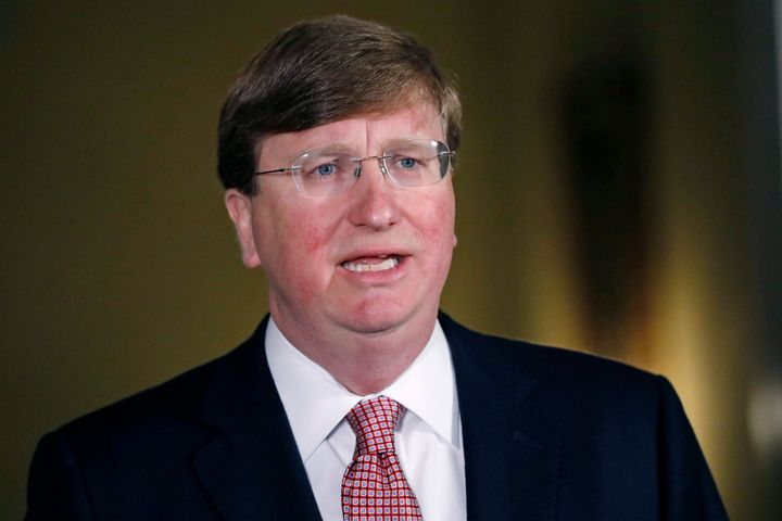 Mississippi Republican Gov. Tate Reeves delivers a televised address prior to signing a bill retiring the last state flag wit
