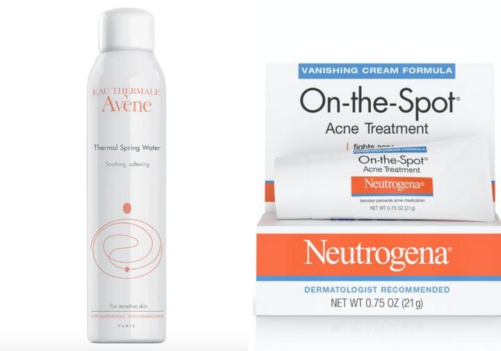"""<strong><a href=""""https://www.ulta.com/brand/avene"""">Av&egrave;ne Thermal Spring Water</a>, 18.50;</strong> <strong><a href=""""https://www.walgreens.com/store/c/neutrogena-on-the-spot-acne-treatment-with-benzoyl-peroxide/ID=prod4396-product"""" target=""""_blank"""" rel=""""noopener noreferrer"""">Neutrogena On-the-Spot Acne Treatment</a>, $8.79</strong>"""