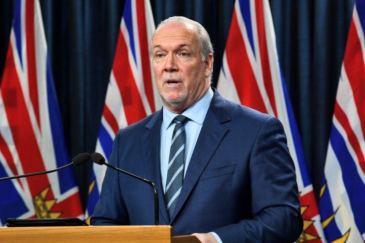 B.C. Premier John Horgan addresses the media at the Legislative Assembly of British Columbia in Victoria on Monday.