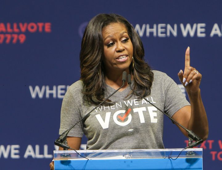 """Michelle Obama said the """"idea that we cannot both hold secure elections and ensure that every eligible voter can make their v"""