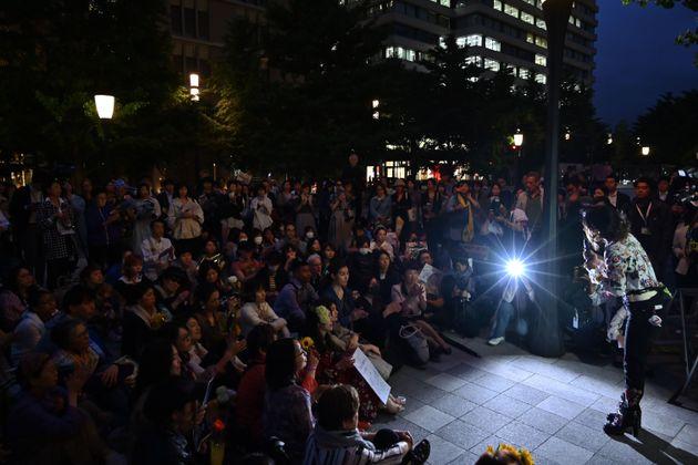 性暴力事件をめぐる無罪判決に抗議するフラワーデモの集会(2019年6月)