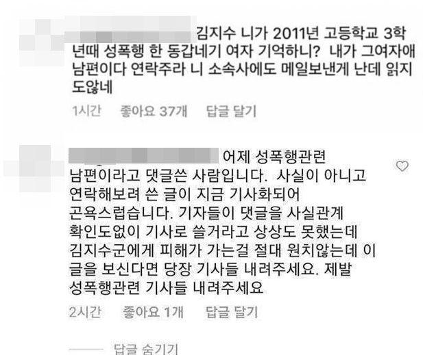 거짓 폭로한 네티즌 해명. 5일 기준, 논란이 된 댓글은 삭제된
