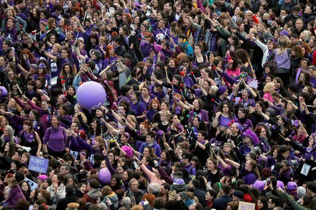 Manifestantes en la concentración de Madrid del 8 de marzo de