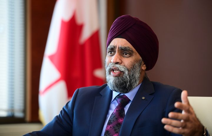 Defence Minister Harjit Sajjan speaks to The Canadian Press in Ottawa on Dec. 17, 2020.